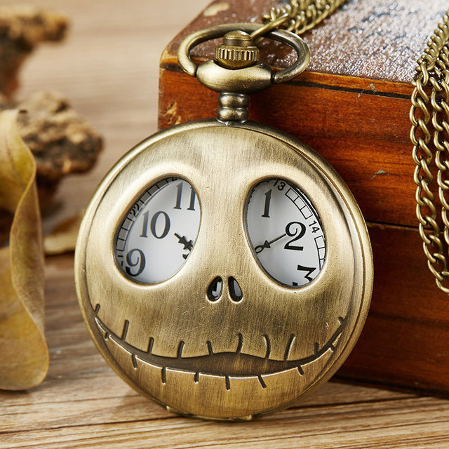 Nightmare Before Christmas Pocket Watch Jack Skull Hollow Steampunk Watch with F