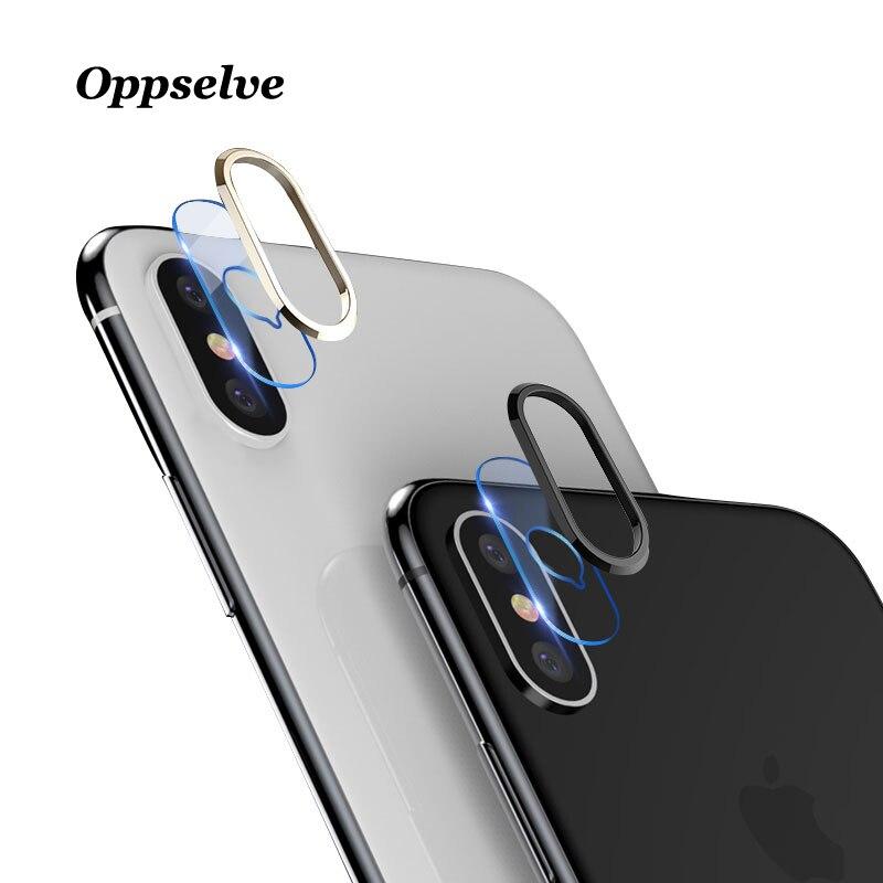Transparente vidro temperado + metal câmera traseira lente anel de proteção para iphone x 10 guarda caso capa anel pára-choques para iphonex
