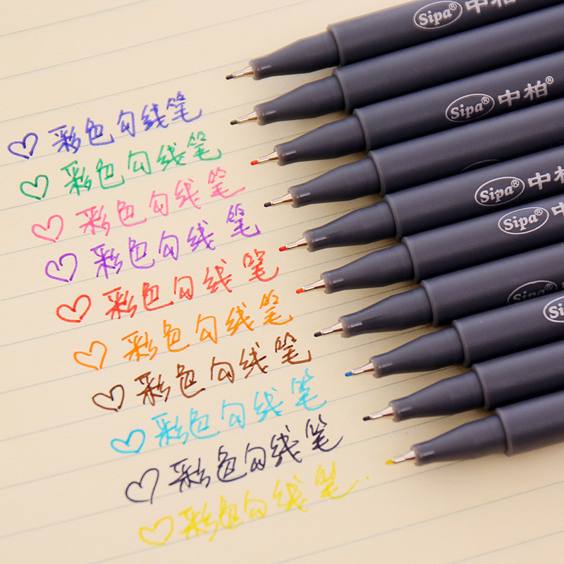 DL Simple And Very Fine Color Line Drawing  Stroke Pen Nibs 0.38mm 10 Color Watercolor Pen Kit