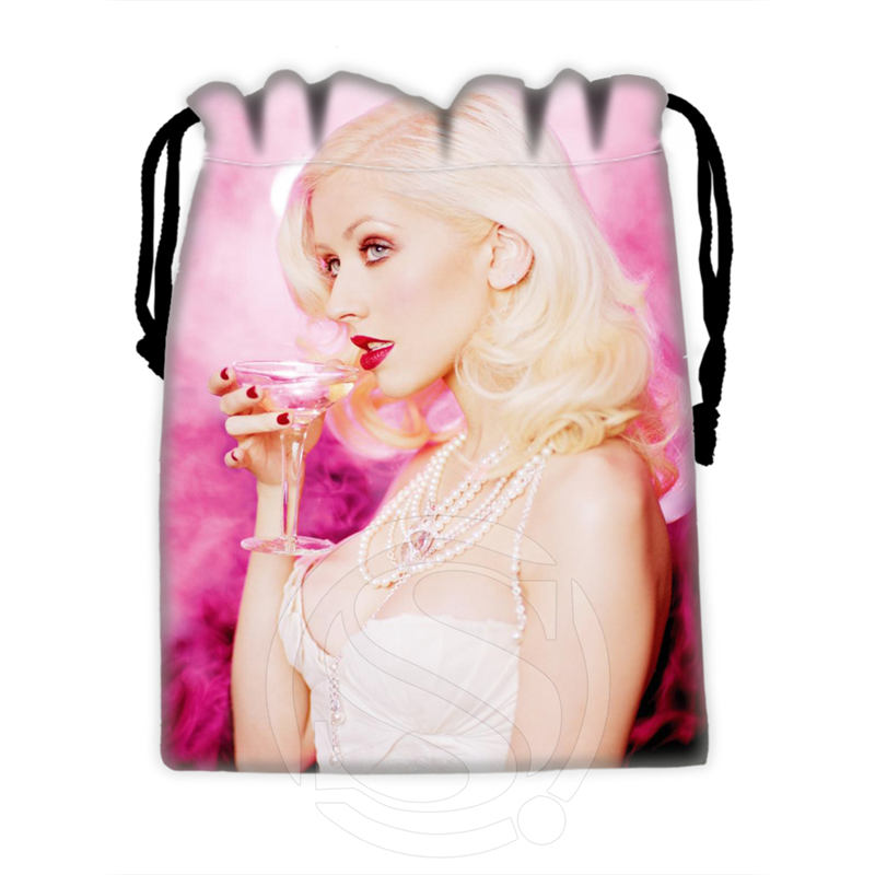 H-P684 Custom Christina Aguilera#7 Drawstring Bags For Mobile Phone Tablet PC Packaging Gift Bags18X22cm SQ00806#H0684