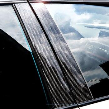 6 pz/set Nero In Fibra di Carbonio B-Pilastro Finestra Adesivi Per Auto di Alta Qualità B-Pilastri Adesivo Decorativo Per BMW classe E 2017-2019