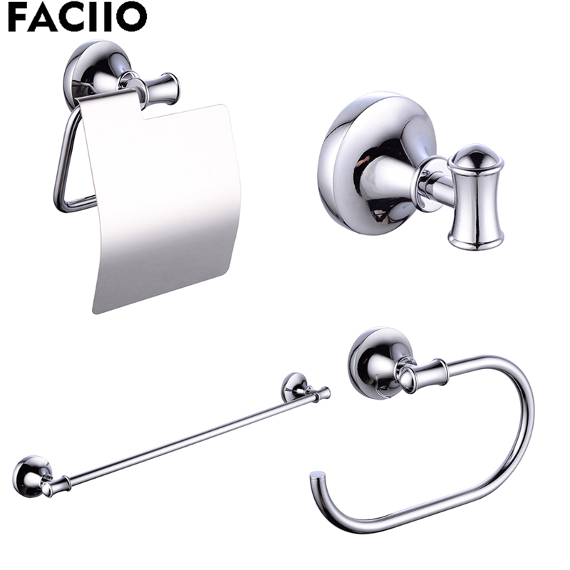 FACIIO 4pcs/set Bathroom Hardware Silver Towel Bars Coat Hook Toilet Paper Holder Wall Hooks Hanger Bathroom Accessories S5300