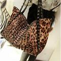 2016 New Women's Fashion Handbag Big Leopard Punk Rivet Shoulder Bag European And American Style PU Tote Bag Free Shipping