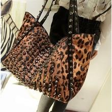 2016 New Women's Fashion Handbag Big Leopard Punk Rivet Shoulder Bag European and American Style PU Tote Bag + Free Shipping
