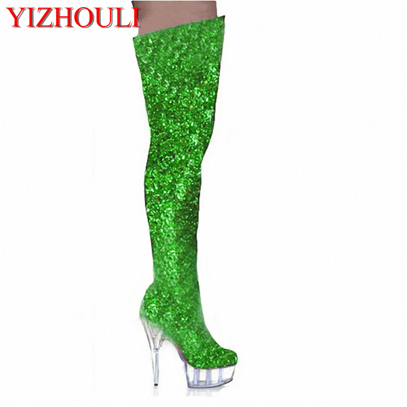 15cm tall sexy boots high heels punk motorcycle boots gold glitter thigh high boots closed toe 6 inch ladies sexy Crystal shoes