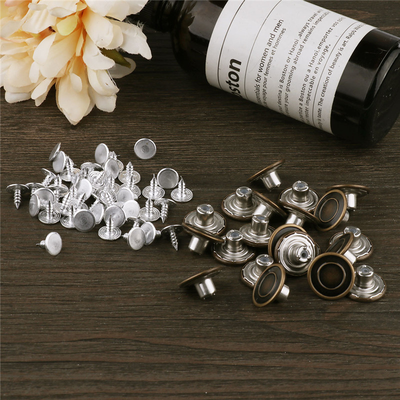Buttons 10pcs Metal Press Studs Sewing Button Accessories With Nails Kits For Replacement Instant Suspenders Snap Fasteners