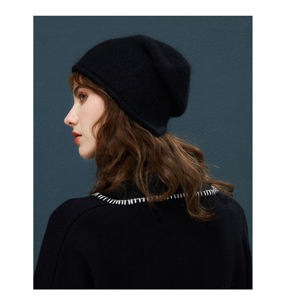 2018 New Women Baggy Bonnet Beanies Female Rabbit Hair Wool Knitted Winter Hats Soft Skiing Slouchy Beanie With Back Opening (14)