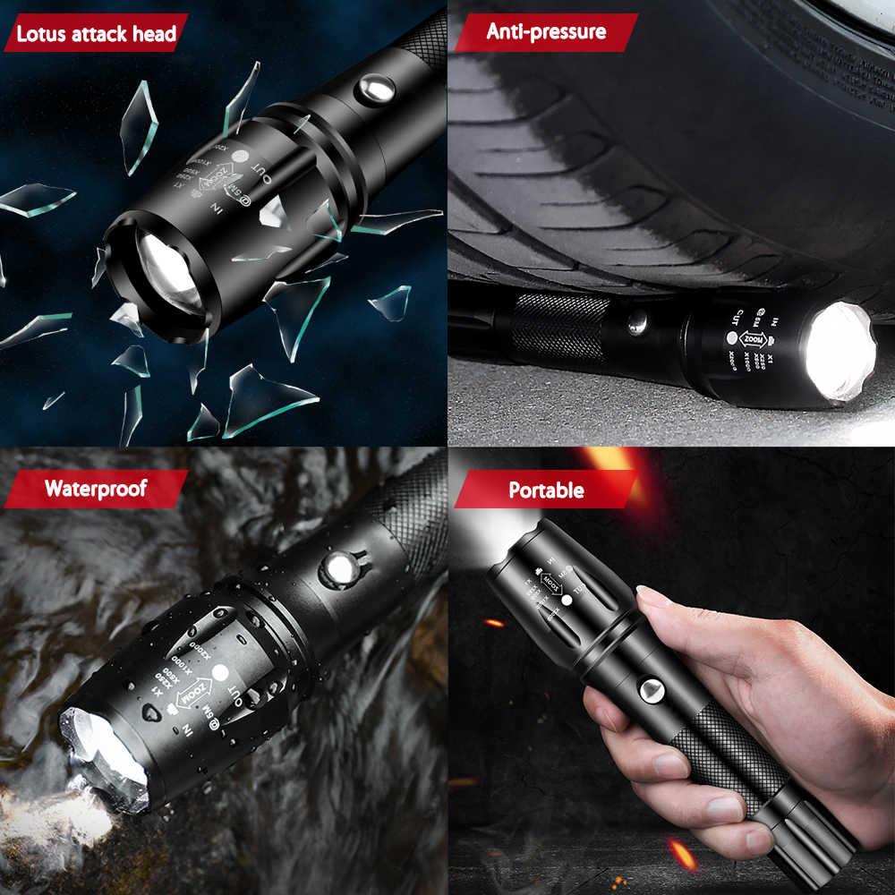 20000LM супер яркий T6 светодиодный фонарик фонарь с приближением, тактические фонари linterna фонарик велосипедная фара, перезаряжаемая Use18650
