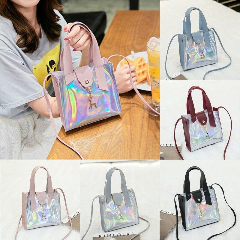 Hologram Transparent Shoulder Bag Women Clear Laser Handbag Holographic Purse