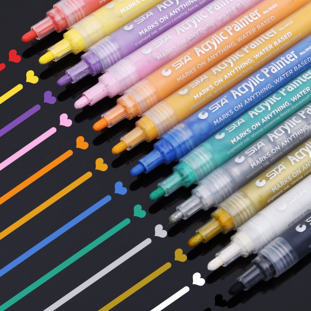 Dainayw 12colors Acrylic Paint Markers Highlight Waterproof