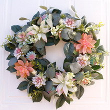 40cm Simulation Door Fleshy Wreathbeautiful Succulent Garden Artificial Hanging Wreath For Home Decoration Walls New