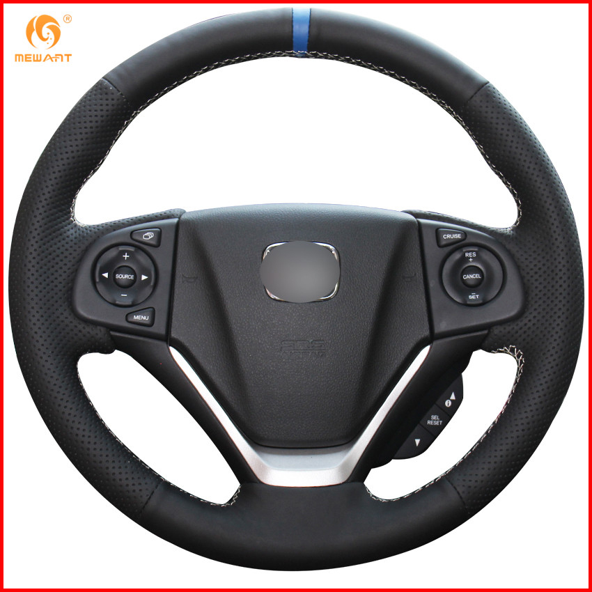 MEWANT Black Genuine Leather Car Steering Wheel Cover for Honda CRV CR V 2012 2013 2014