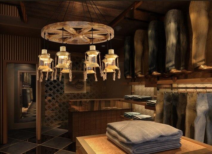 Ruota di legno in america rustico depoca lampade a sospensione per