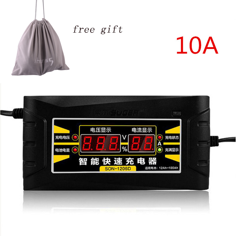 Full Automatic 12V 10A Car Battery Charger 110V to 220V Intelligent Fast Power Charging Wet Dry Lead Acid with LCD Display