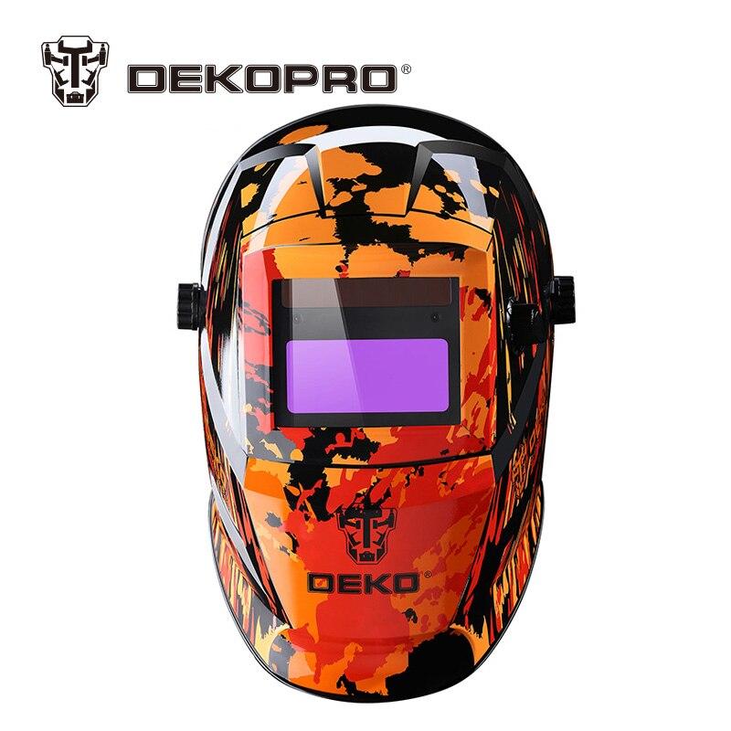 DEKOPRO Orange Feuer Solar Auto Verdunkelung MIG MMA Elektrische Schweißen Maske Helm Schweißen Objektiv für Schweißen Maschine oder Plasma Cutter