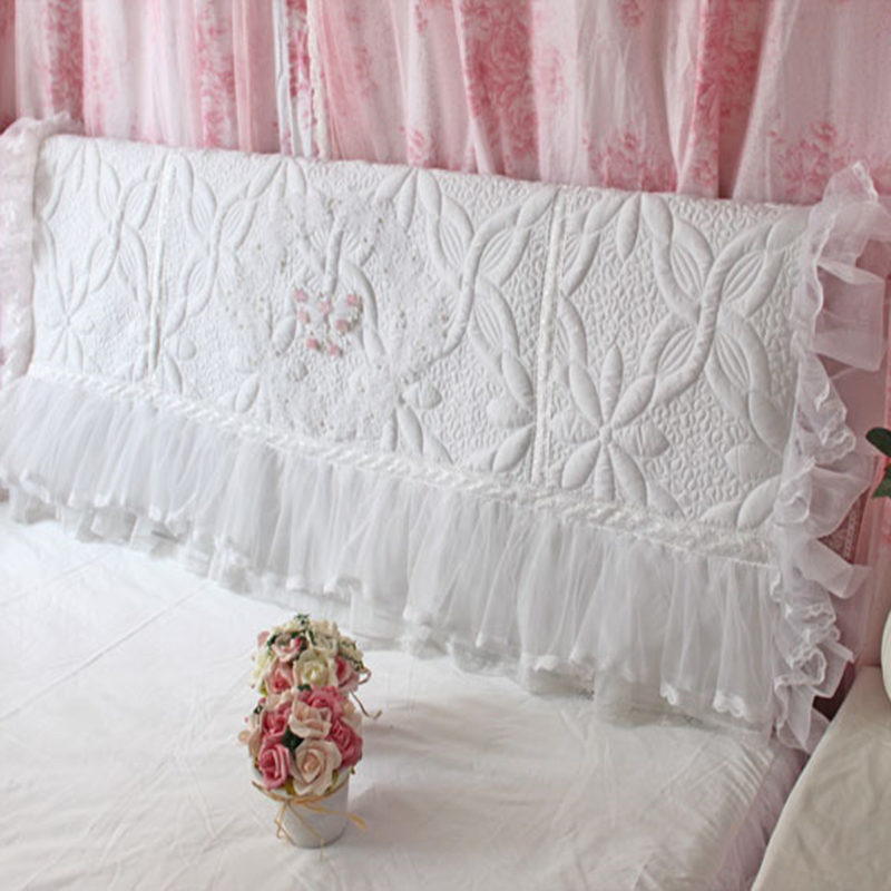 white elegant bed headboard cover wedding decorative bow lace ruffle skirt cushion cover ...