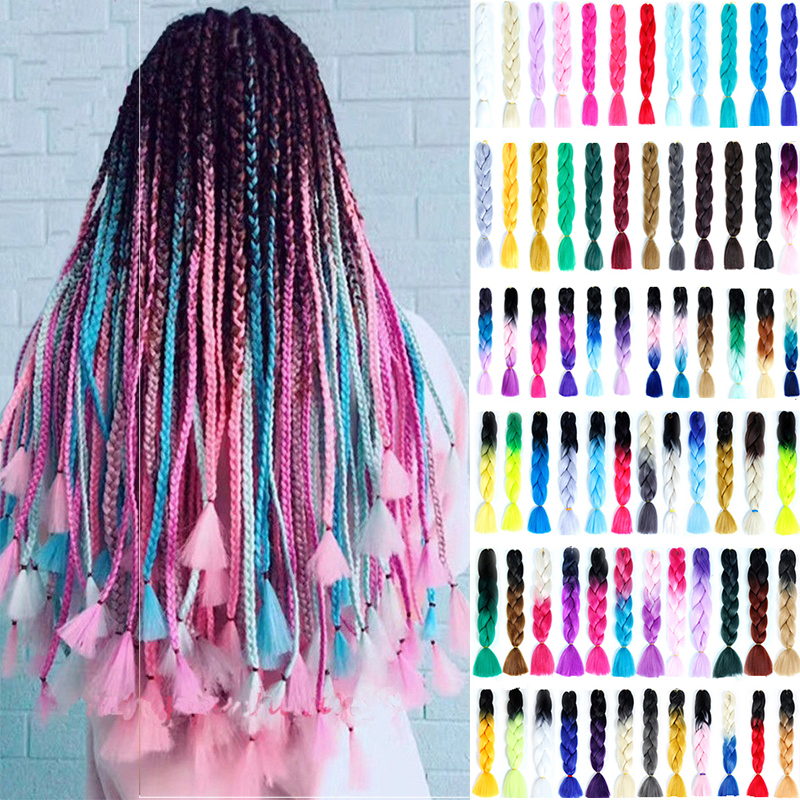 Allaosify Hair-Extensions Braids Jumbo Hair Pre-Stretched African Afro Blue Ombre 24-Inches