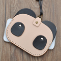 2016 New Hand Made Genuine Leather Panda Bank Card Holder Portable String Best Gift Casual ID Bus Identity Badge with Lanyard