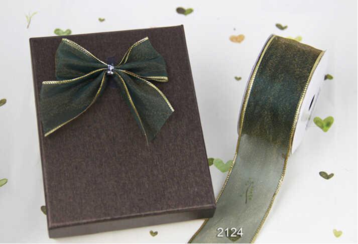N2124 38 MM X 25 metre rulo Altın kenar yosun yeşil organze şerit hediye sarma noel kablolu şerit