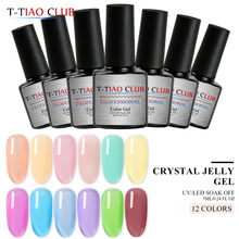 T-TIAO CLUB 7ml Crystal Jelly Nail Gel Transparent Pink White UV Polish Long Lasting  Lacquer