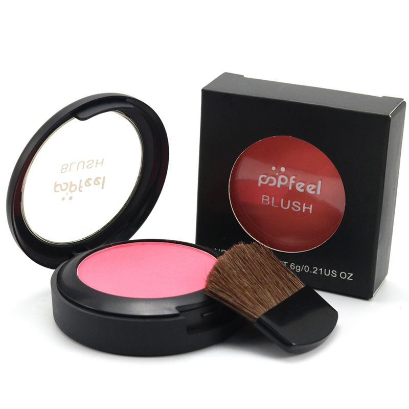 Makeup Face Blush 6 Colors Long Lasting Tolerance Cosmetics Powder Blush Powder With Mirror Makeup Brush