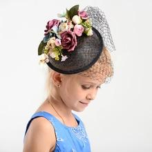 Charm black Wedding Hat floral fascinator Sexy Women linen Hair ornaments headpiece bridal Wedding Photograph Accessories Gifts