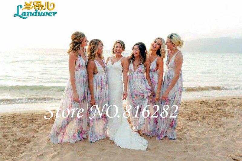 Bridesmaid Dresses Vestido Printed Pastel Chiffon Spaghetti Straps Y V Neck Beach Dress 2016 De Festa In From