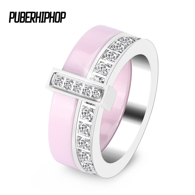 2019 Fashion Double Layer Ceramic Women Rings Good Quality Black White Pink Crys