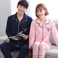 New arrive leisure pajamas Male Full Sleeve Couples 100% Cotton Leisure Classic  Blue Color homewear suit