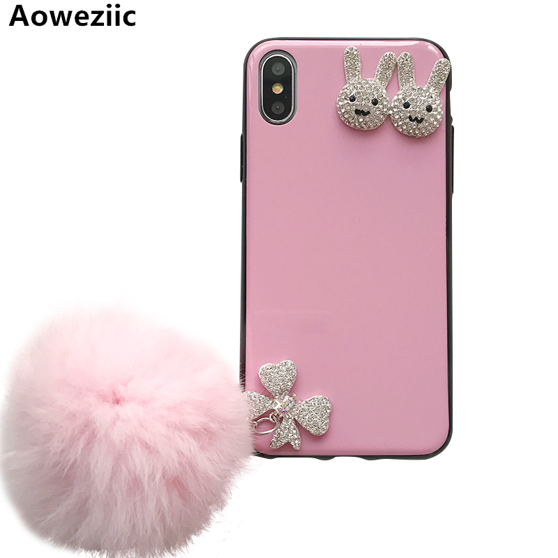 Aoweziic DIY luxury water drill For iPhoneX mobile phone shell cute rabbit apple 7plus Protection Suite I8 female 6sPlus case