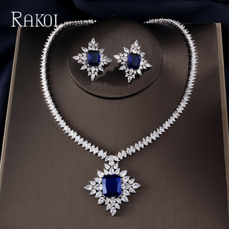 Qualified Rakol Extreme Luxury Big Square Cubic Zirconia Pendant Pendant Necklace Chain Snow Crystal Stud Earring Jewelry Set For Women