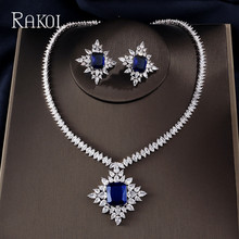RAKOL Extreme Luxury Big Square Cubic Zirconia  Pendant Pendant Necklace Chain Snow Crystal Stud Earring Jewelry Set For Women