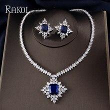 RAKOL エクストリーム贅沢ビッグスクエアキュービックジルコニアペンダントペンダントネックレスチェーン雪の結晶スタッドのイヤリングジュエリーセット女性