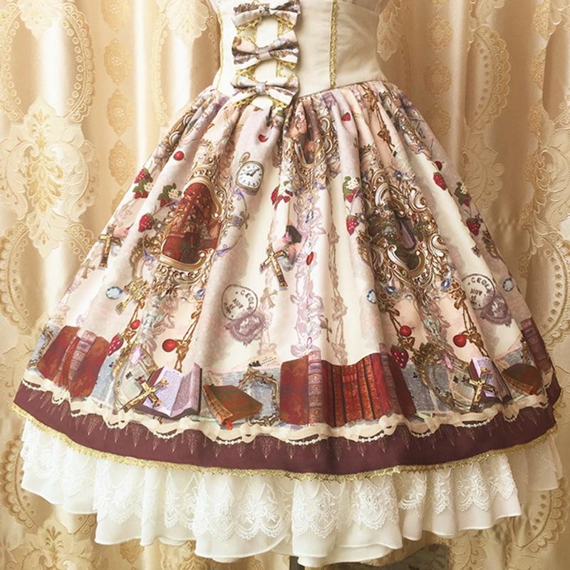 Kadın Giyim'ten Etekler'de Tatlı Klasik Orijinal Tasarım Lolita Etek Vintage Saray Üçlü Yay İpli Kadınlar Sevimli Dantel Ruffles Hem Şifon Etekler V110'da  Grup 1