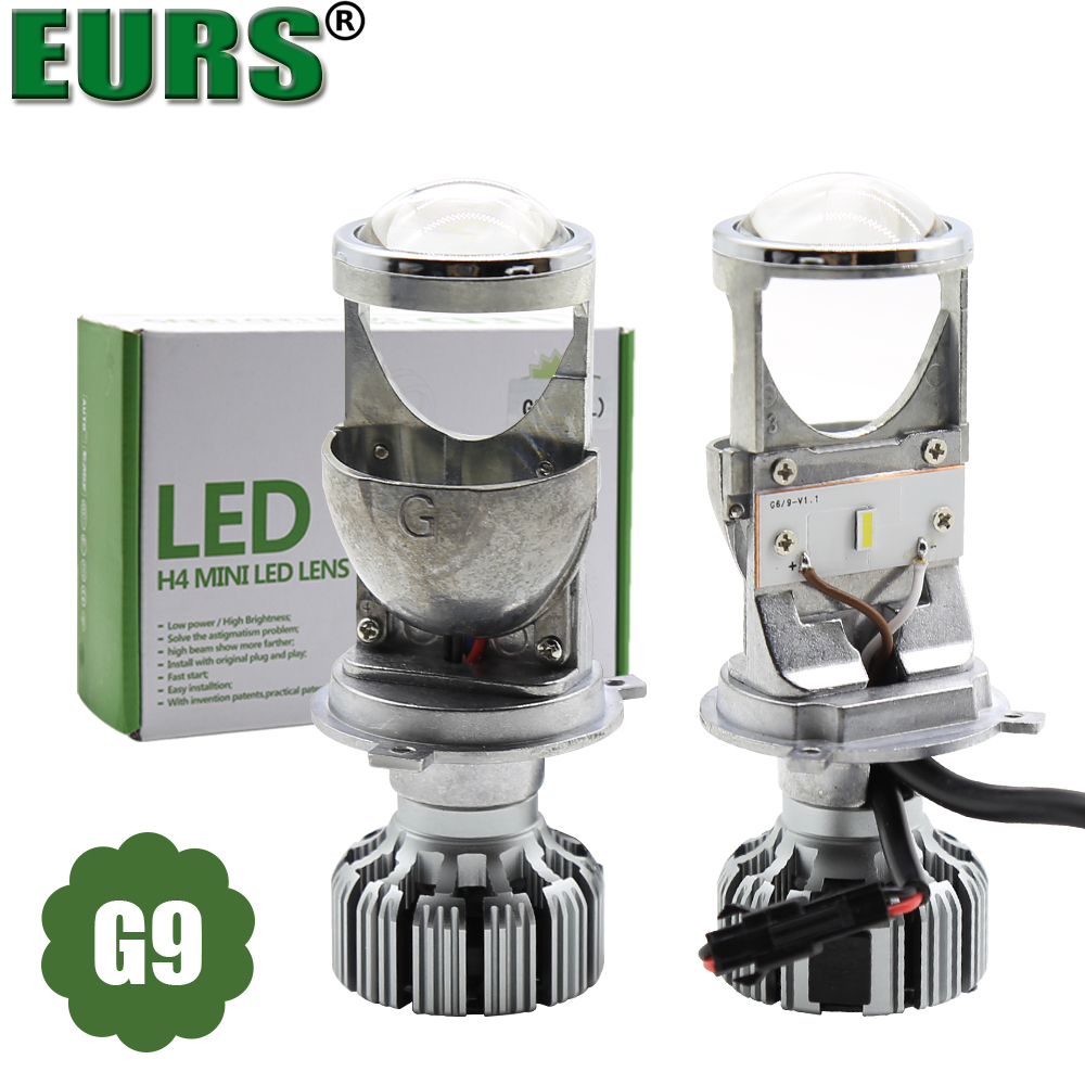 EURS 2PCS Mini LED H4 headlight Bulbs for Cars 60W 12V 24V LED Projector Lens High Low Beam for Car Headlamp csp chip auto light