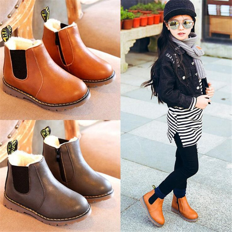 MHYONS 2019 Children Boots Boys Snow Waterproof Shoes Kids Leather Boots Boy Boots Girls Martin Warm Shoes Sport Shoes 21-30