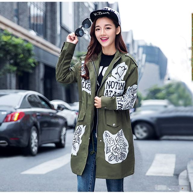 Fashion Graffiti trench coat women army green windbreaker female long print loose coats girl plus size cotton overcoat LX6138