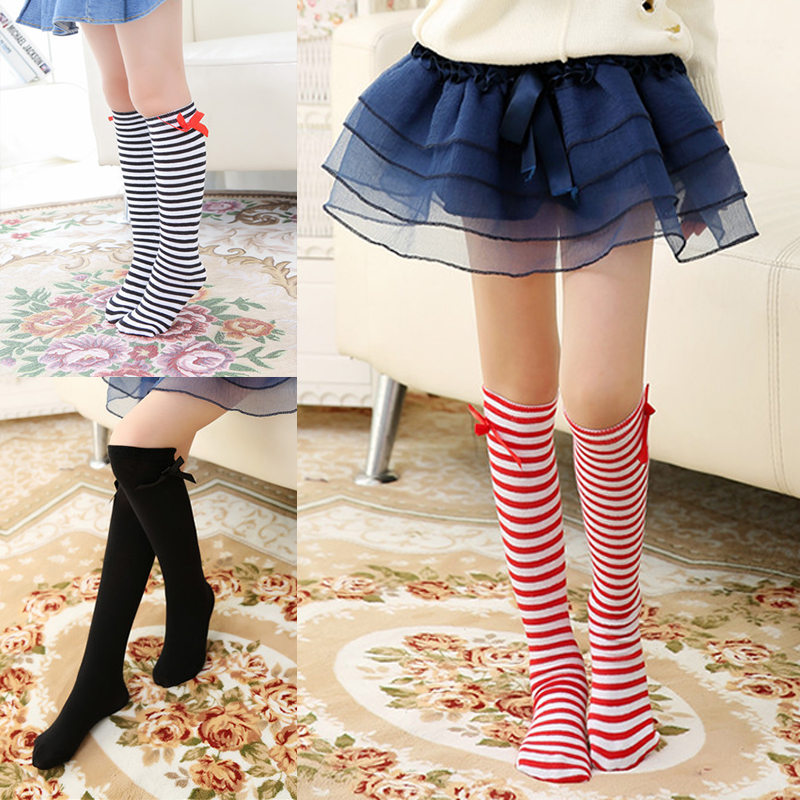 Hot Cotton Girls Stockings Baby Kids Children Leg Warmers Bowknot Stripes Solid White Red White Black Knee High Socks 3-12 T