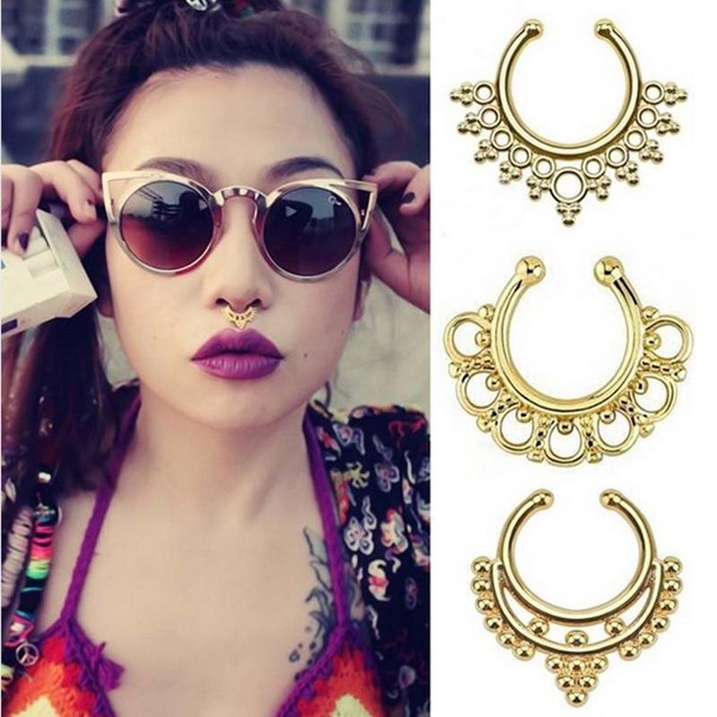Fake Piercing Nose Ring Septum For Women Body Jewelry Industrial Piercing Nariz Ear Rings Jewellery Sieraden Bijoux Femme Aretes body jewelry