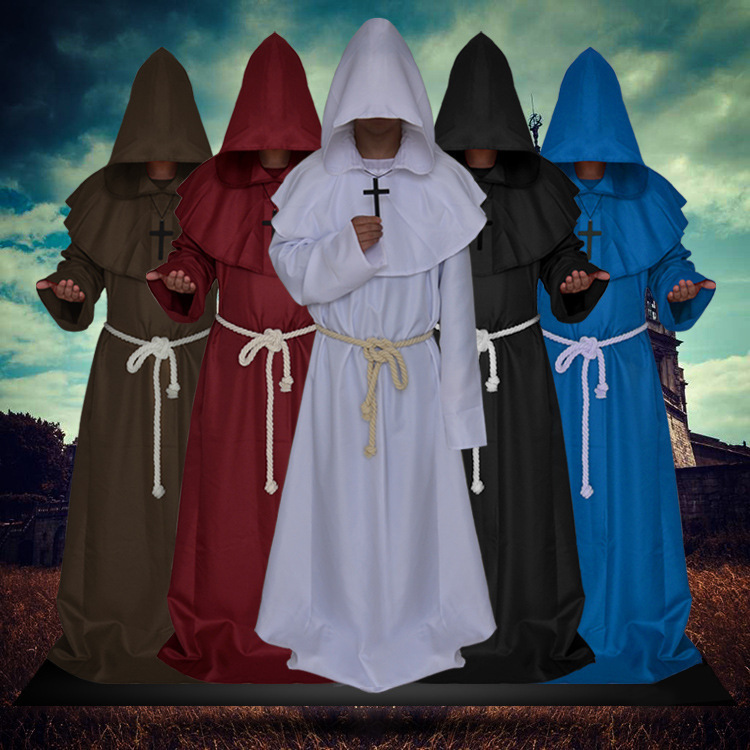 Halloween Monk Hooded Robe Cloak Priest Friar Witch Wizard Medieval Renaissance Cape Unisex Masquerade Party Cosplay Costume