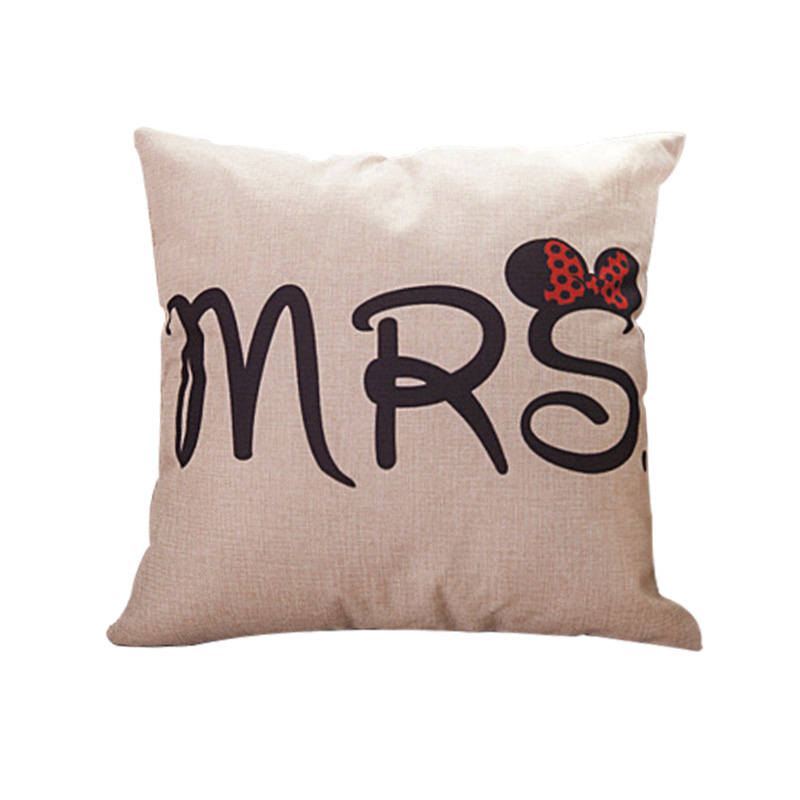 Couples Cotton Linen Pillowcase Modern Simple Wedding Office Sleeping Pillow Set Home MRS MR Pillow Case