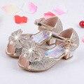 2017 летний новый детские сандалии фантазии золотые туфли на высоком каблуке лук принцесса обувь, летняя обувь для детей, ballerine chaussures филь gi