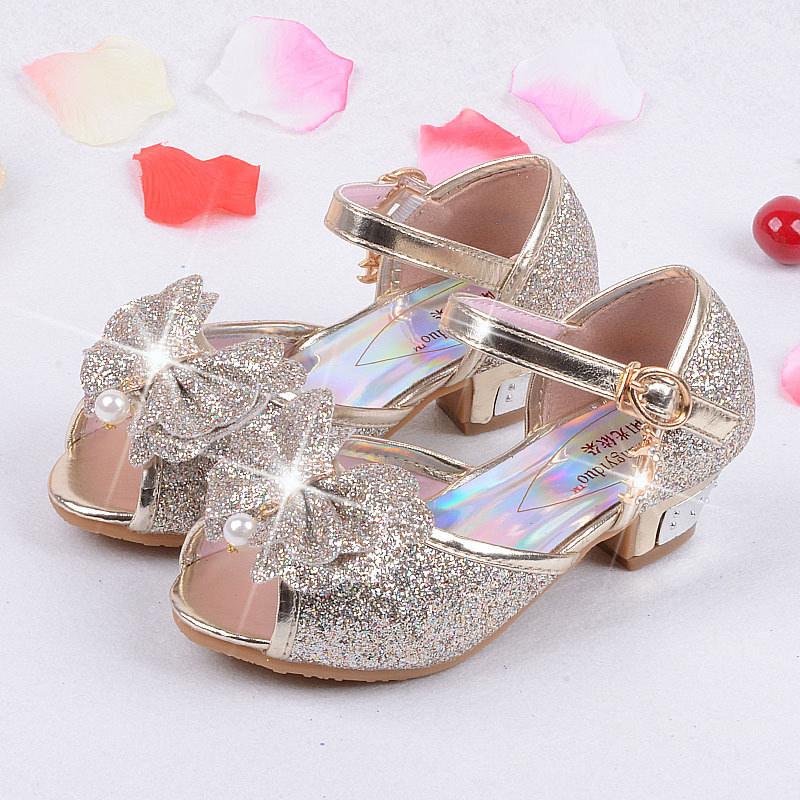2016 summer brand new baby sandals fantasy gold high-heeled bow princess shoes, shoes kids, chaussures ballerine fille