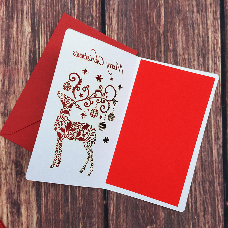 DoreenBeads Creative Paper Cutting Merry Christmas Cards Folding ...