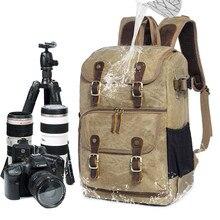 Duża pojemność Batik płótno tkanina torba fotograficzna zewnętrzna kamera wodoodporna ramiona plecak dla Cannon/Nikon/Sony DSLR SLR