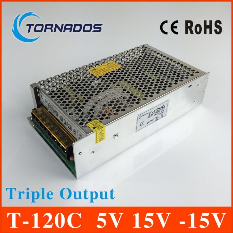 Triple output power supply 120w 5V 15V -15V 10A 3.5A 1A power suply T-120C  high quality ac dc converter t 120a triple output power supply 120w 5v 15v 15v power suply ac dc converter power supply switching