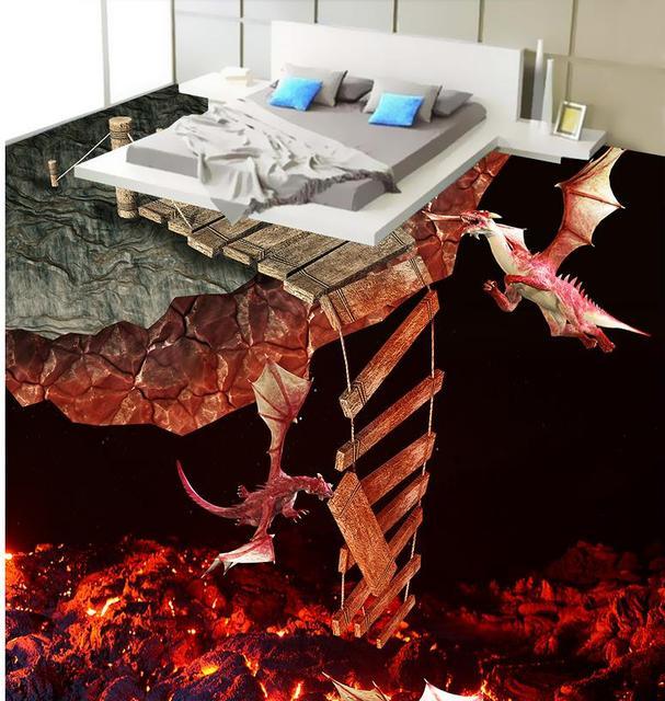 3d Flooring Lava Volcano Fire Dragon 3d Floor Wallpaper