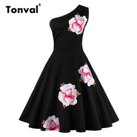 Tonval Embroidery Floral Black Vintage Dress Backless Sexy One Shoulder Party Dresses Elegant Tunic Retro Plus