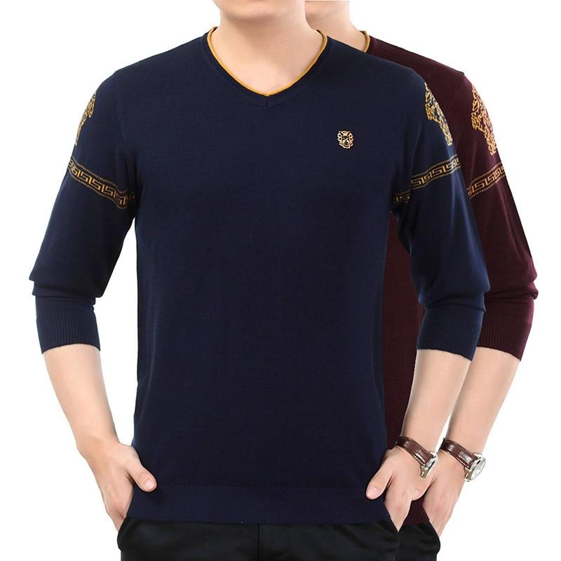 2018 новый осень модный бренд свитер для повседневной носки V шеи Slim Fit Вязание Для мужчин свитера и пуловеры Для мужчин пуловер Для мужчин