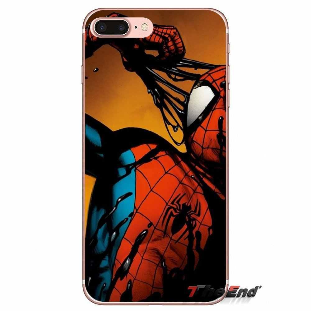 Для iPhone X 4 4S 5 5S 5C SE 6 6 S 7 8 плюс samsung Galaxy J1 J3 J5 J7 A3 A5 2016 2017 паук S3 супергероя мягкий Silica гелевый Чехол для телефона